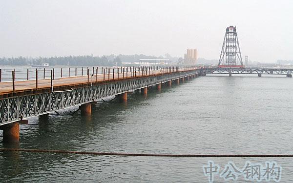 钢桥工程-湛江海湾大桥热浸锌贝雷桁架施工栈桥----市